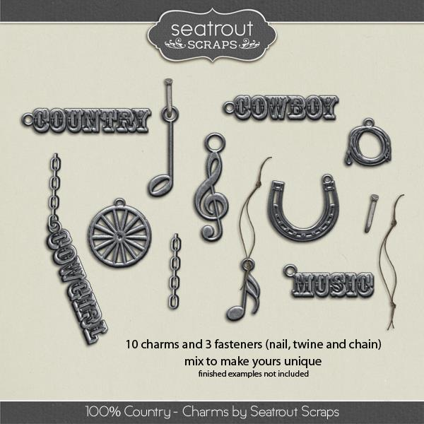 100% Country Charms Digital Art - Digital Scrapbooking Kits