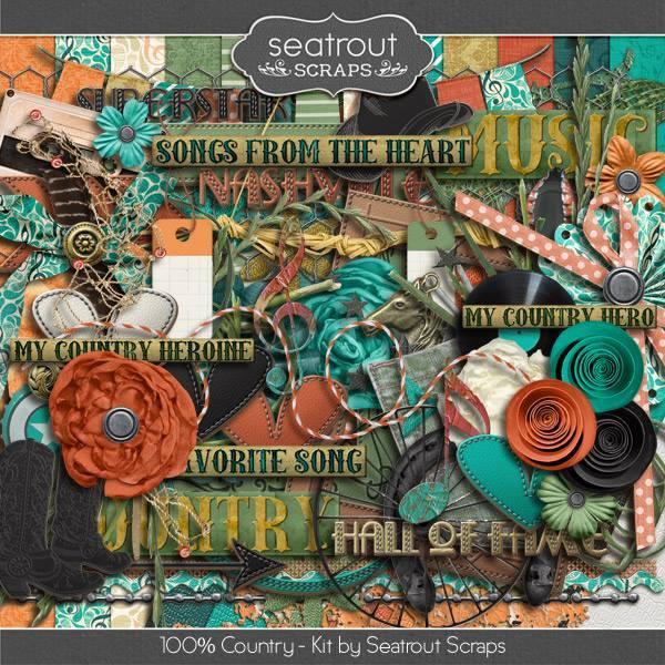 100% Country Kit Digital Art - Digital Scrapbooking Kits