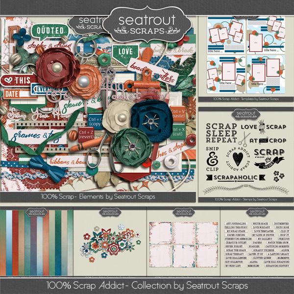 100% Scrap Addict Bundle Digital Art - Digital Scrapbooking Kits