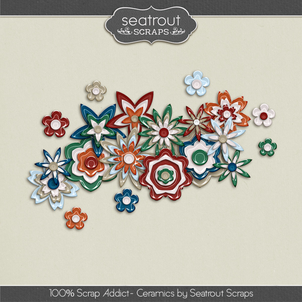 100% Scrap Addict Ceramics Digital Art - Digital Scrapbooking Kits