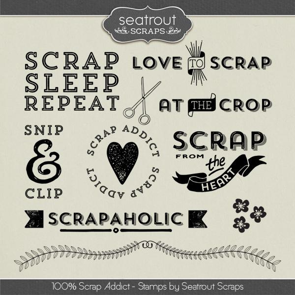 100% Scrap Addict Stamps Digital Art - Digital Scrapbooking Kits