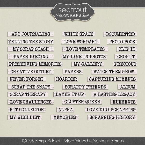 100% Scrap Addict Word Strips Digital Art - Digital Scrapbooking Kits