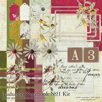 Audubon Notebook Kit No. 01 Digital Art - Digital Scrapbooking Kits