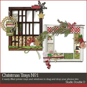 Christmas Trays No. 01 Digital Art - Digital Scrapbooking Kits