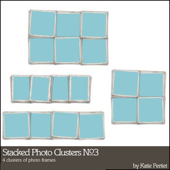 Stacked Photo Clusters No. 03 Digital Art - Digital Scrapbooking Kits