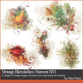 Vintage Blendables Harvest No. 01 Digital Art - Digital Scrapbooking Kits