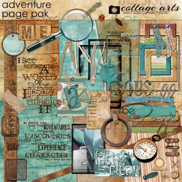 Adventure Page Pak Digital Art - Digital Scrapbooking Kits