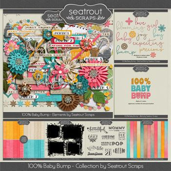 Baby Bump Bundle Digital Art - Digital Scrapbooking Kits