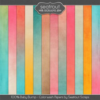 Baby Bump Colorwash Papers Digital Art - Digital Scrapbooking Kits