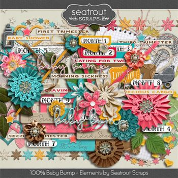 Baby Bump Embellishments Digital Art - Digital Scrapbooking Kits