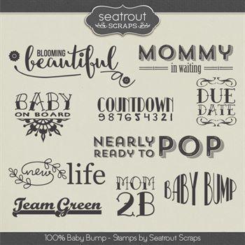 Baby Bump Stamps Digital Art - Digital Scrapbooking Kits