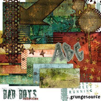 Bad Boys Kit Digital Art - Digital Scrapbooking Kits