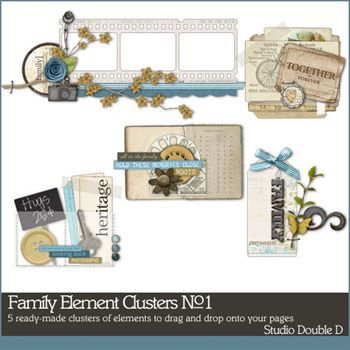 Family Elements Clusters No. 01 Digital Art - Digital Scrapbooking Kits