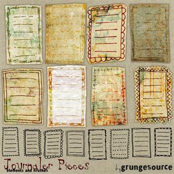 Journaler Pieces Digital Art - Digital Scrapbooking Kits