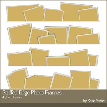 Stuffed Edge Photo Frames Digital Art - Digital Scrapbooking Kits