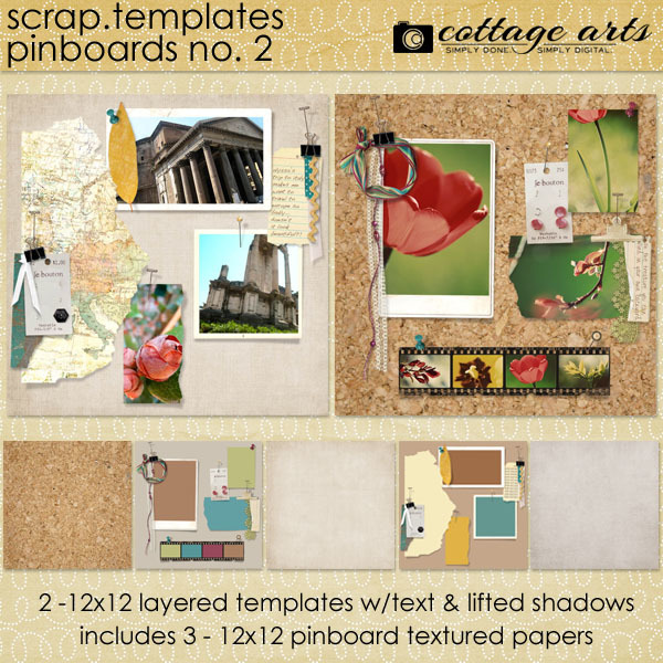 Scrap Templates - Pinboards 2 Digital Art - Digital Scrapbooking Kits