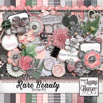Rare Beauty Scrap Kit Digital Art - Digital Scrapbooking Kits