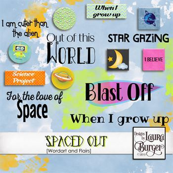 Spaced Out Flair And Word Arts Digital Art - Digital Scrapbooking Kits