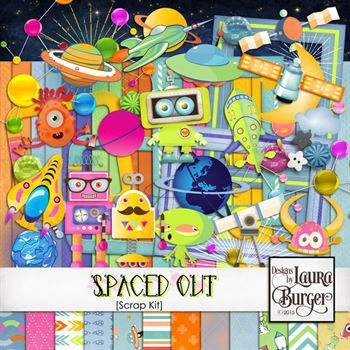 Spaced Out Scrap Kit Digital Art - Digital Scrapbooking Kits