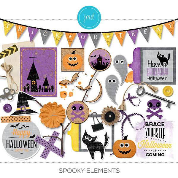 Spooky Elements Digital Art - Digital Scrapbooking Kits