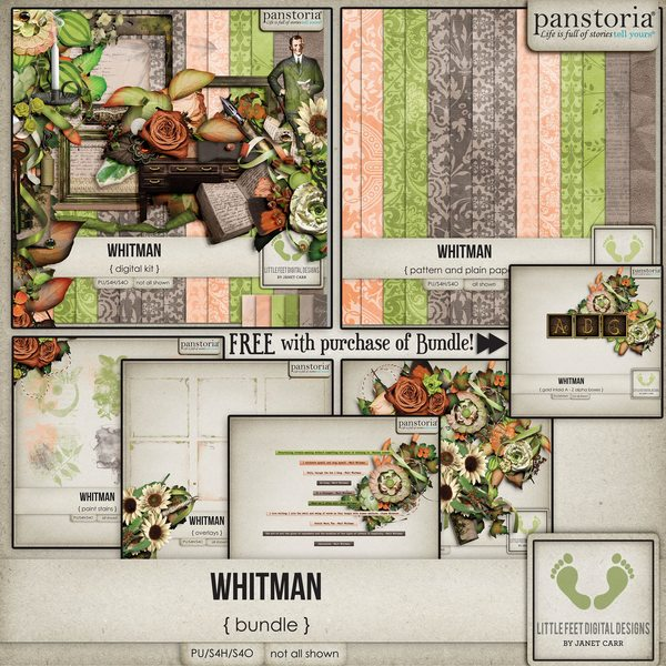 Whitman Bundle Digital Art - Digital Scrapbooking Kits