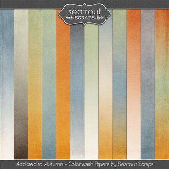 Autumn Addiction Colorwash Papers Digital Art - Digital Scrapbooking Kits