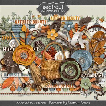 Autumn Addiction Embellishments Digital Art - Digital Scrapbooking Kits