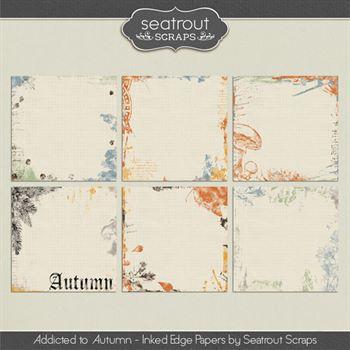 Autumn Addiction Inked Edge Papers Digital Art - Digital Scrapbooking Kits