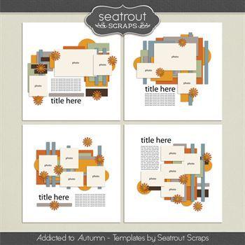 Autumn Addiction Templates Digital Art - Digital Scrapbooking Kits