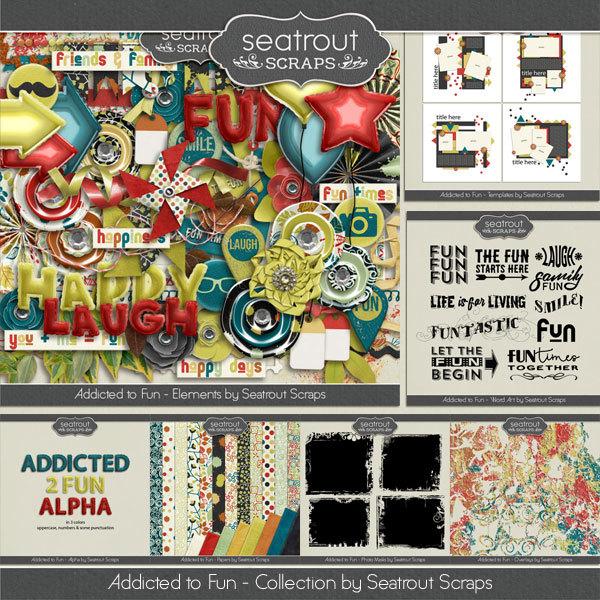 Addicted to Fun Collection Digital Art - Digital Scrapbooking Kits