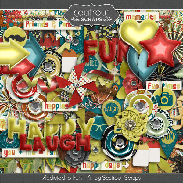 Addicted to Fun Kit Digital Art - Digital Scrapbooking Kits