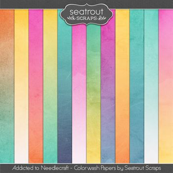 Needlecraft Addiction Colorwash Papers Digital Art - Digital Scrapbooking Kits