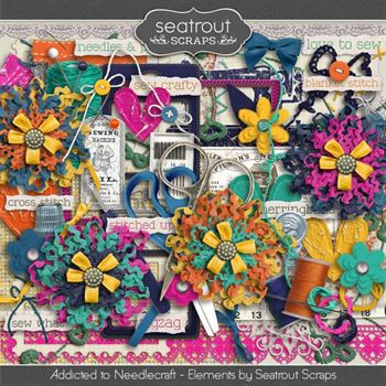 Needlecraft Addiction Embellishments Digital Art - Digital Scrapbooking Kits