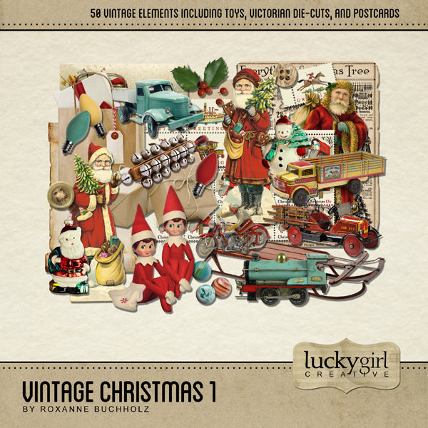 Vintage Christmas 1 Digital Art - Digital Scrapbooking Kits