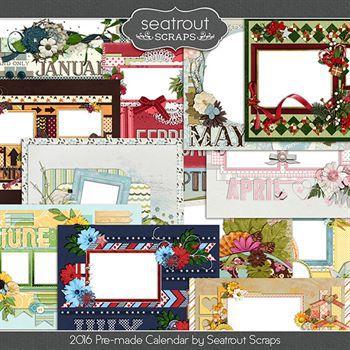 11 X 8.5 Calendar (ready Made) For 2016 Digital Art - Digital Scrapbooking Kits