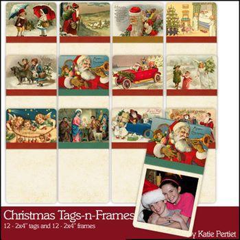 Christmas Tags And Frames Digital Art - Digital Scrapbooking Kits