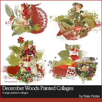 December Woods Painted Collages Digital Art - Digital Scrapbooking Kits