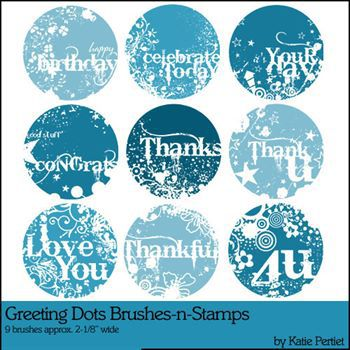 Greeting Dots Brushes And Stamps Digital Art - Digital Scrapbooking Kits