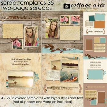 12 X 12 Scrap Templates 35 - 2 Page Spreads Digital Art - Digital Scrapbooking Kits