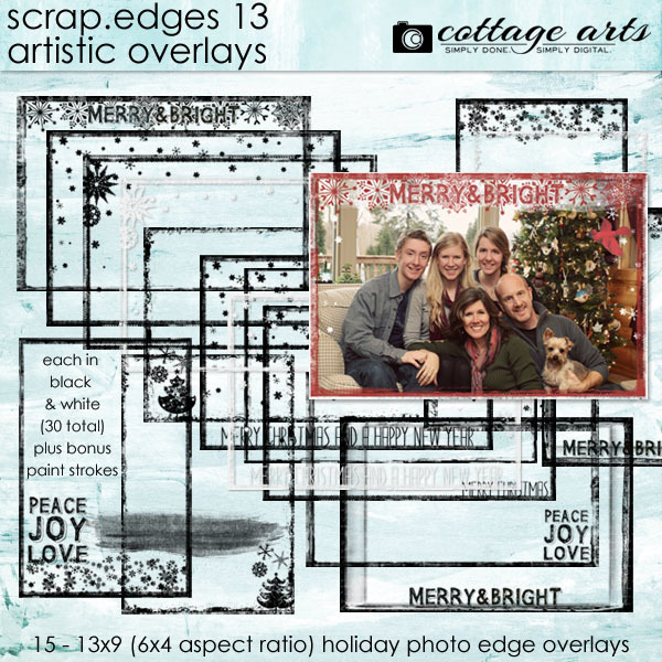 Scrap.Edges 13 Artistic Overlays Digital Art - Digital Scrapbooking Kits