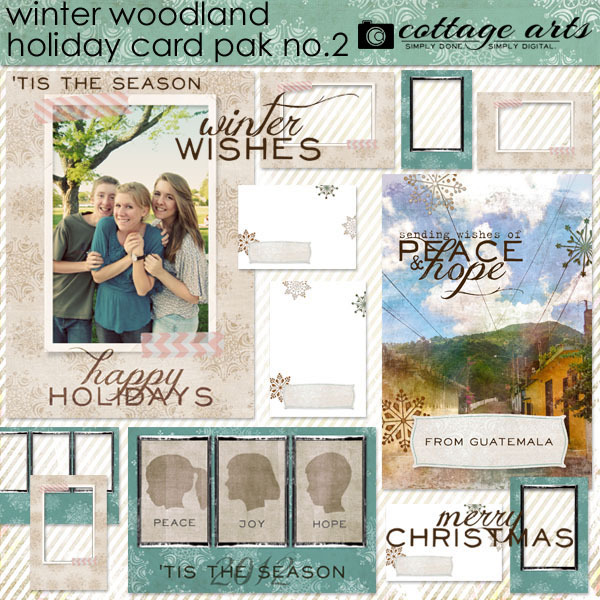Winter Woodland 2 Holiday Card Pak Digital Art - Digital Scrapbooking Kits