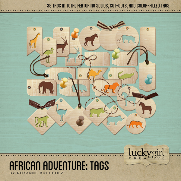 African Adventure Tags Digital Art - Digital Scrapbooking Kits