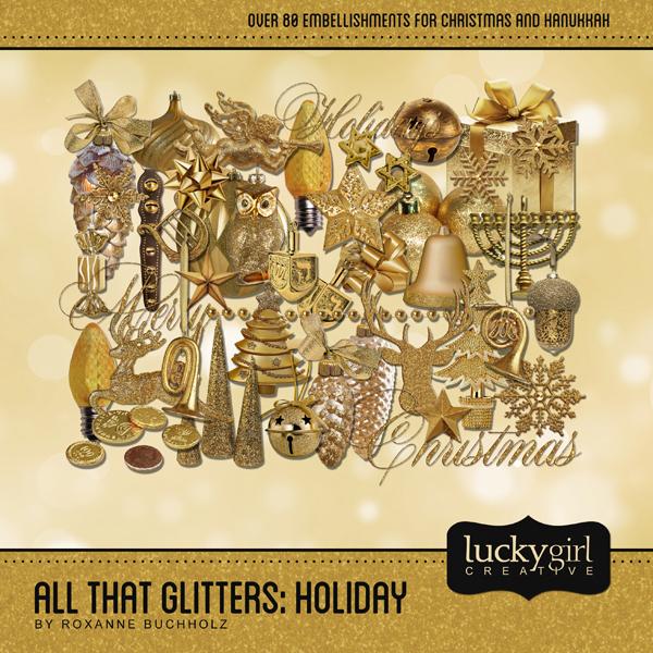 All That Glitters Holiday Digital Art - Digital Scrapbooking Kits