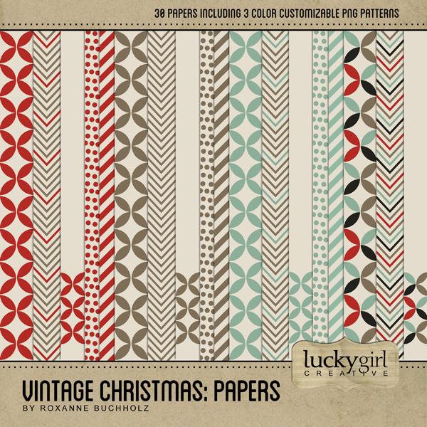 Vintage Christmas Papers Digital Art - Digital Scrapbooking Kits