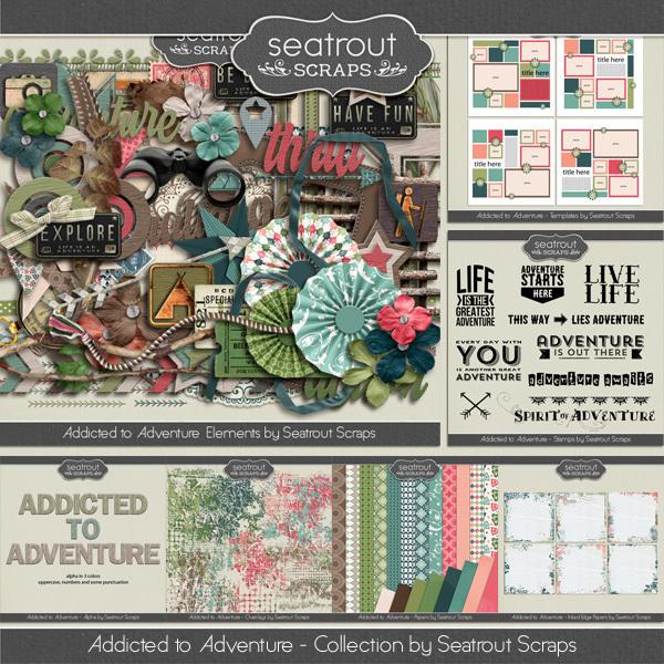Addicted To Adventure Bundle Digital Art - Digital Scrapbooking Kits