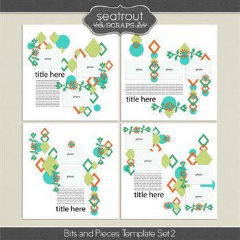 Bits And Pieces Template Set 2 Digital Art - Digital Scrapbooking Kits