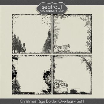Christmas Page Border Overlays Set 1 Digital Art - Digital Scrapbooking Kits
