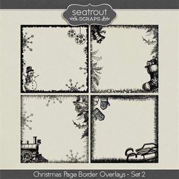 Christmas Page Border Overlays Set 2 Digital Art - Digital Scrapbooking Kits