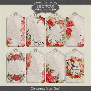 Christmas Tags Set 1 Digital Art - Digital Scrapbooking Kits