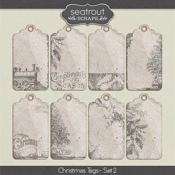 Christmas Tags Set 2 Digital Art - Digital Scrapbooking Kits